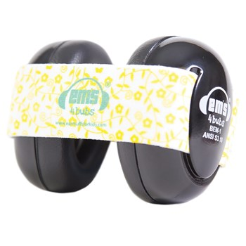 Ems 4 Bubs Baby Hearing Protection Black Earmuffs- Lemon Floral