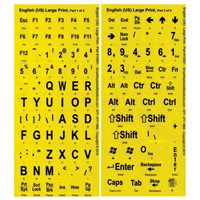 Large Print Labels for Computer Keyboards - Black On Yellow