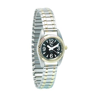 Womens Low Vision Watch- Black Face w-Exp Band