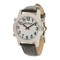 Reizen Talking Watch - White Face - Leather Band - English