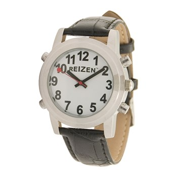 Reizen Talking Watch - White Face - Leather Band - Spanish