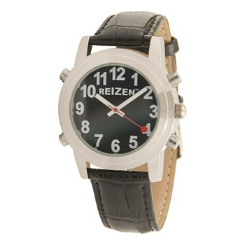 Reizen Talking Watch - Black Face - Leather Band - English