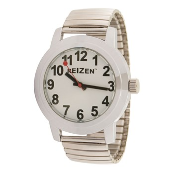 Reizen Low Vision Quartz Watch - White Face - Expansion Band - Unisex