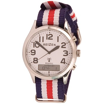 Reizen Low-Vision Ana-Digit Atomic Watch - Red-White-Blue Striped Band