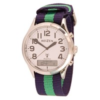 Reizen Low-Vision Ana-Digit Atomic Watch- Green-Blue Striped Band