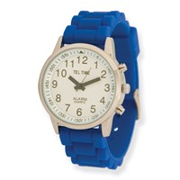 Ladies Touch Talking Watch- Large Face- Blue Rubber Band