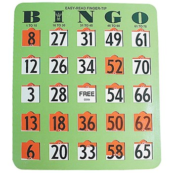 Easy Read Fingertip Bingo Card -20 Cards - Green