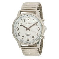 Mens Touch Talking Watch- Extra Large Chrome- Expansion Band