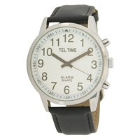 Mens Touch Talking Watch- Extra-Large Face- Leather Band- English