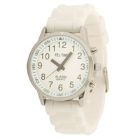 Ladies Touch Talking Watch- Large Face- White Rubber Band- English
