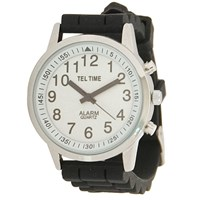 Mens Touch Talking Watch- Large Face- Black Rubber Band- Spanish