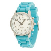 Ladies Touch Talking Watch- Large Face- Aqua Rubber Band- Spanish