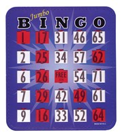 Jumbo Blue Bingo Card with Fingertip Shutter Slide - 1 pc.