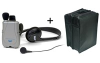 Pocketalker Ultra w-Earbud+Headphones + Leather Case - MaxiAids Bundle