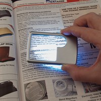 Credit Card Size Dual Power LED Magnifier- 3x + 6x