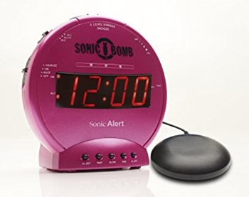 Sonic Bomb Alarm Clock and Bed Shaker - Pink