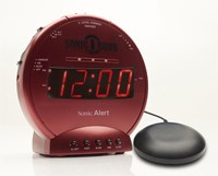 Sonic Bomb Alarm Clock and Bed Shaker - Red