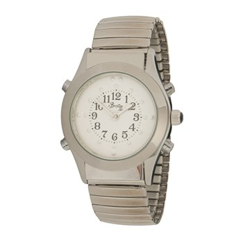 Mens Chrome Braille Talking Watch - Spanish- White Dial Expansion Band