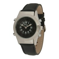 Mens Chrome Braille Talking Watch -Spanish- Black Dial + Leather Band