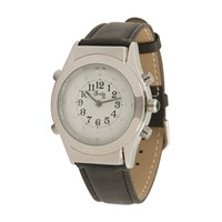 Mens Chrome Braille Talking Watch -Spanish- White Dial + Leather Band