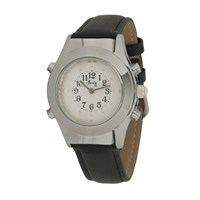 Womens Chrome Braille Talking Watch-English-White Dial + Leather Band