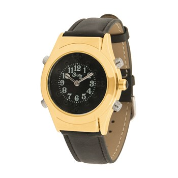 Mens Gold Braille Talking Watch-English-Black Dial + Leather Band