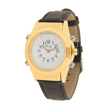 Mens Gold Braille Talking Watch-English-White Dial + Leather Band