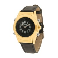 Mens Gold Braille Talking Watch-Spanish-Black Dial + Leather Band