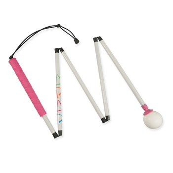 Ambutech HiLites Pink 5-Sec 54-in Graphite Folding Cane-Rolling Ball