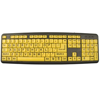 XLSee Large Print Keyboard - Black on Yellow