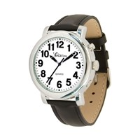 VocaTime Mens Chrome Talking Watch- Black Leather Band