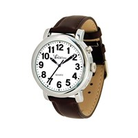 VocaTime Mens Chrome Talking Watch- Brown Leather Band