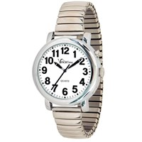 VocaTime Mens Chrome Talking Watch- Stainless Steel Expansion