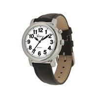VocaTime Womens Chrome Talking Watch- Black Leather Band