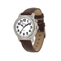 VocaTime Womens Chrome Talking Watch- Brown Leather Band