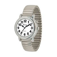 VocaTime Womens Chrome Talking Watch- Stainless Steel Expansion