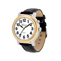 VocaTime Mens BI-COLOR Talking Watch- Black Leather Band
