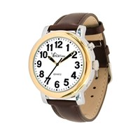VocaTime Mens BI-COLOR Talking Watch- Brown Leather Band