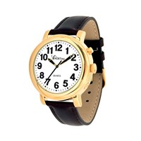 VocaTime Mens Gold Tone Talking Watch- Black Leather Band