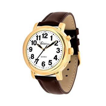 VocaTime Mens Gold Tone Talking Watch - Brown Leather Band