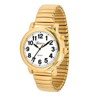VocaTime Mens Gold Tone Talking Watch- Gold Tone Expansion Band