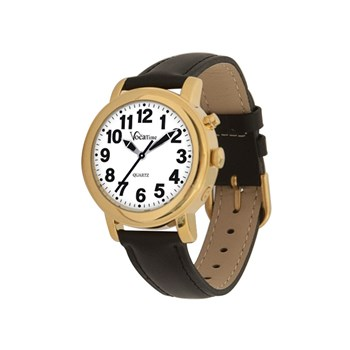 VocaTime Womens Gold Tone Talking Watch- Black Leather Band