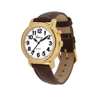 VocaTime Womens Gold Tone Talking Watch- Brown Leather Band