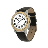 VocaTime Womens BI-COLOR Talking Watch- Black Leather Band