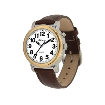 VocaTime Womens BI-COLOR Talking Watch - Brown Leather Band