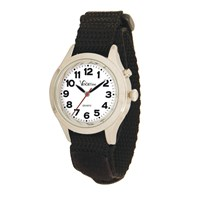 VocaTime Womens & Childrens Chrome Talking Watch Black EZ Latch Band