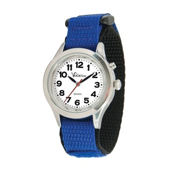 VocaTime Womens & Childrens Chrome Talking Watch Blue EZ Latch Band