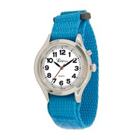 VocaTime Womens & Childrens Chrome Talking Watch Lt Blue EZ Latch Band