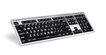Large Print Keyboard for Mac- White Print on Black Keys with LED Light