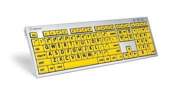 Large Print Keyboard for Mac- Blk Print-Yellow Keys with LED light